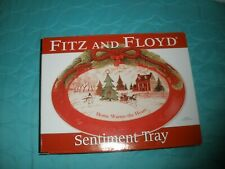 """Fitz & Floyd Home Warms The Heart Sentiment Tray 10"""" x 8"""" 2010 W/ Box Christmas"""