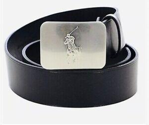 NWT-Sz 36 POLO RALPH LAUREN Men's Black Leather Big Pony Silver Tone Plaque Belt
