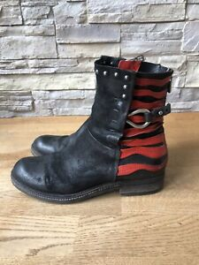 AS 98 Früher airstep Stiefeletten Boots Schwarz Rot Cool Used Look Gr. 38 Jades