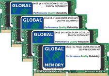 64GB (4 x 16GB) DDR4 2400MHz PC4-19200 260-PIN SoDIMM Memoria RAM Kit per computer portatili