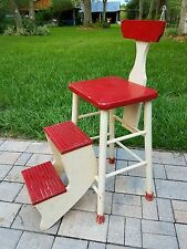Kitchen Step Stool fold out wood chair stepstool antique farmhouse primitive