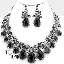 HIGH END BLACK CHUNKY GLASS CRYSTAL PROM FORMAL WEDDING NECKLACE JEWELRY SET