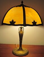 ARTS & CRAFTS MILLER TABLE LAMP WITH CARAMEL COLORED 6 PANEL FILIGREE SHADE