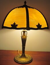 ARTS U0026 CRAFTS MILLER TABLE LAMP WITH CARAMEL COLORED 6 PANEL FILIGREE SHADE