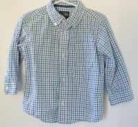 THE CHILDREN'S PLACE Boys Shirt White and Blue Checks Size 3T Long Sleeve