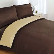 6pc Complete Double Bed Reversible Chocolate Brown / Latte Duvet Cover Bed Set