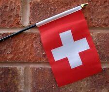 "SWITZERLAND HAND WAVING FLAG small 6"" x 4"" with 10"" pole SWISS Bern Zurich"