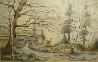Art Greeting Card Picture Wildlife Creek Deer River Painting Watercolor Woods