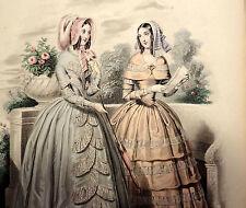 LE FOLLET 1845 Hand-Colored Fashion Plate #1255 Dresses w/ Lace Trim ORIG.PRINT