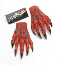 Mens Halloween Devil Vampire Monster Horror Hands Red Fancy Dress Costume Gloves