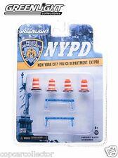 Greenlight 1/64 NYPD New York City Police Traffic Barricades & Barrels Set