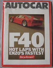 AUTOCAR 14/10/1987 featuring Ferrari F40, Jaguar Sovereign V12, BMW, Mazda