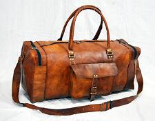 Vintage leather messenger brown goat hide luggage travel bag genuine briefcase14