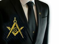 Freemasons Masonic Black Woven Tie With Square Compass & G