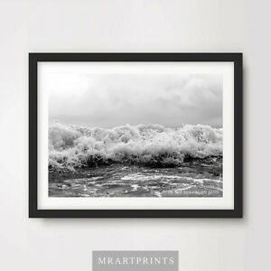 BLACK WHITE WAVES SURF SEA OCEAN Art Print Poster Frothy Photograph Picture Wall