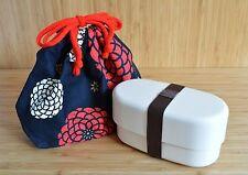 Lunch Box Set Japanese Bento Box Oval  White and  Black carry Bag Kinchaku