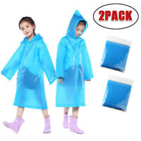 2PCS Children Kids Hooded Jacket Raincoats Reusable Portable Rain Ponchos 6Y-12Y