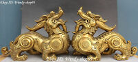 "13"" Chinese Pure Bronze Dragon Pixiu Brave troops Beast Coin Money Statue Pair"