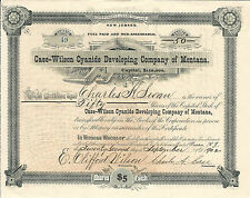 1902 MONTANA Case-Wilson Cyanide Developing Co of Montana Stock Certificate #49