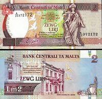 Malta 2 Liri 1967 - 1994, UNC, P-45d, Sign Michael P.Bonello