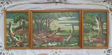 Set of Three Vintage Mid Century Paint by Number Framed Landscape Paintings