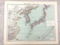 1894 Antique Map of China Japan Korea Original 19th Century Old French