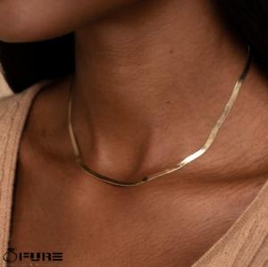 Unisex 14K Gold Snake Chain Herringbone Stainless Steel Silver Choker Necklaces