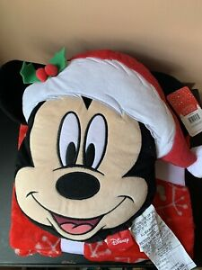 """DISNEY MICKEY MOUSE NOGGINZ PILLOW AND TRAVEL BLANKET SET Red Snow 45"""" X 55"""" NEW"""
