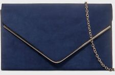 Blue Clutch Bag Faux Suede Evening Bag Navy Prom Shoulder Bag Wedding Bag New