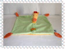 N - Doudou Semi Plat Girafe Vert Jaune Orange Les Loustics Moulin Roty