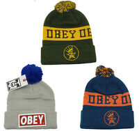 Obey Pom Pom Knit Cuff Beanie Men's Women's Unisex One Size NEW