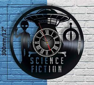 Science Fiction Vinyl Records Wall Clock Figurine Sign Art Alien Gift UFO Space