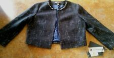 KARL LAGERFELD PARIS / CROPPED JACKET/ BLACK AND WHITE/FAUX PEARLS,SIZE SMALL