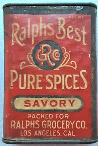 VINTAGE RALPHS BEST PURE SPICES SAVORY SPICE TIN W/ PAPER LABEL