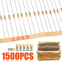 1500pcs 1/4W 75 Values Carbon Film Resistors Assortment Kits 1~ 10M ohm 5% 8x2mm