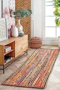 Rug 100% Natural Jute Cotton Braided style Area Runner Rug Morden Living Carpet