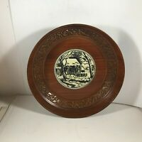 "Vintage Lacquerware 9-1/4"" Bowl Horse Drawn Sleigh"