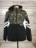 Superdry Mens sz XL  White Black Green Camo Zip Hooded Lightweight Jacket