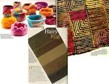 Spin-off magazine summer 2003: hairy rug, bowls, mitered square sweater, socks +