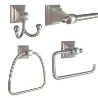 "FDH 4-Piece Bathroom Hardware Accessories Set with 24"" Towel Bar Satin Nickel"