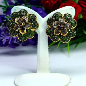 NATURAL GREEN CHROME DIOPSIDE FLOWER EARRINGS 925 SILVER TWO TONES PLATED