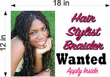 """12"""" x 18"""" PVC SIGN LICENSED HAIR STYLIST BRAIDS BRAIDER BEAUTY SALON WANTED SIGN"""