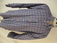 Peter Millar Mens Blue Plaid Long Sleeve Cotton Shirt XL