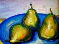 Fruit Still Life of Green Pears in Bowl Original Oil Painting Impressionism Art