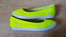 Lauren Ralph florescent Lime Neon Plimsolls Slip On Pump ladies shoes Size 36