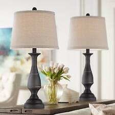Traditional Table Lamps Set of 2 Dark Bronze Metal for Living Room Bedroom