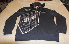 Doctor Who Mens Grey Tardis Printed Zip Up Hoodie Jumper Top Size L New