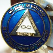 Alcoholics Anonymous AA NA  Blue Gold Eternity Recovery Medallion Coin 1 5 30
