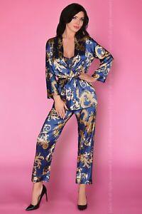 LIVCO CORSETTI Nohemi Luxury Soft Satin Robe, Cami Top and Matching Bottoms Set