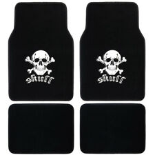 4pc Set of White Skull Design Car Carpet Floor Mats Comfortable Front Rear
